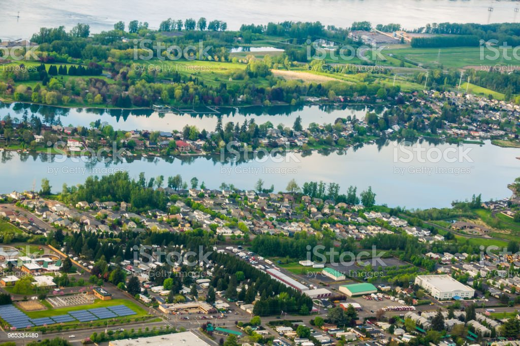 Aerial view of  Blue and Faraday Lakes in Multnomah County near Portland Oregon zbiór zdjęć royalty-free