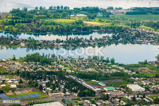 Aerial view of  Blue and Faraday Lakes in Multnomah County near Portland Oregon within the city of Fairview