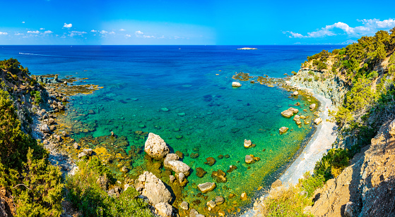 istock Aerial view of Blue lagoon and other bays at Akamas peninsula on Cyprus 1140235011