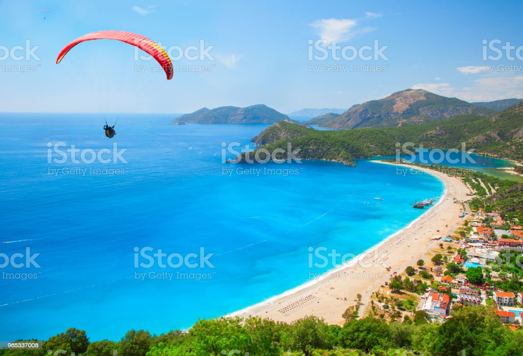 aerial view of Blue Lagoon in Oludeniz, Turkey zbiór zdjęć royalty-free
