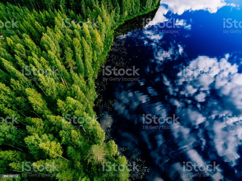 Aerial view of blue lake and green forests on a sunny summer day in Finland. stock photo