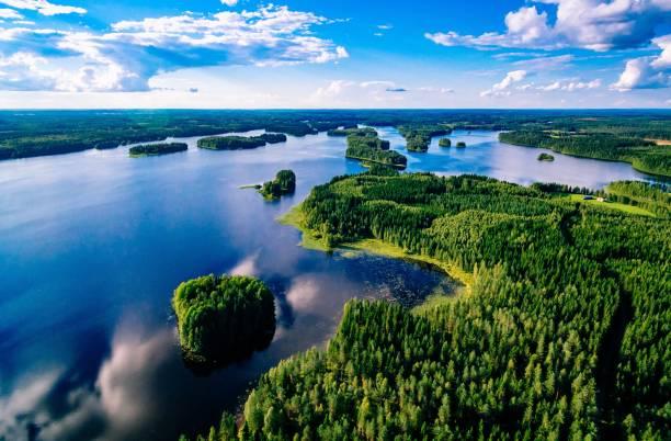 핀란드의 화창한 여름날 푸른 호수와 푸른 숲의 공중 전경 - 핀란드 뉴스 사진 이미지