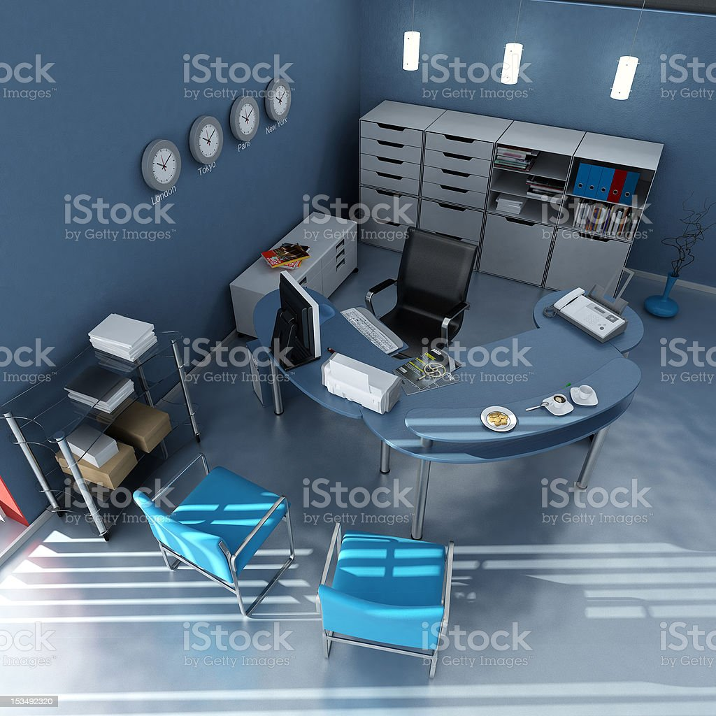 Aerial view of blue modern office royalty-free stock photo