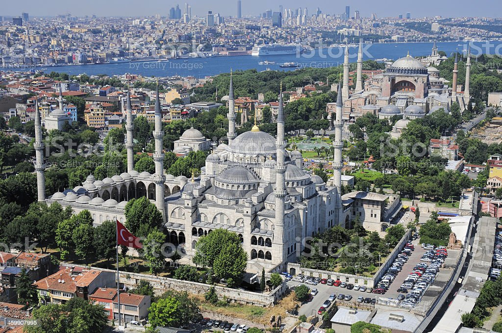 Aerial view of Blue Mosque and Hagia Sophia in Istanbul stock photo