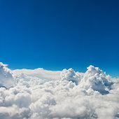 Aerial view of blue sky and clouds for background.