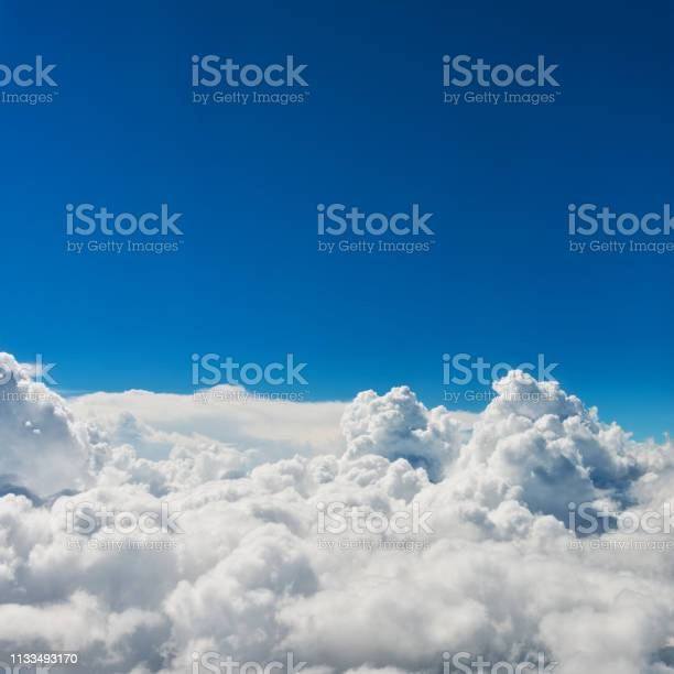 Photo of Aerial view of blue sky and clouds for background