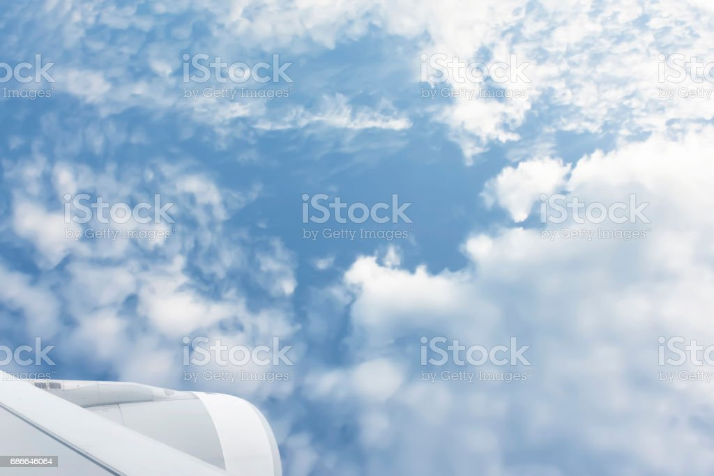 Aerial View of blue sky and white clouds from the aircraft. royalty-free stock photo