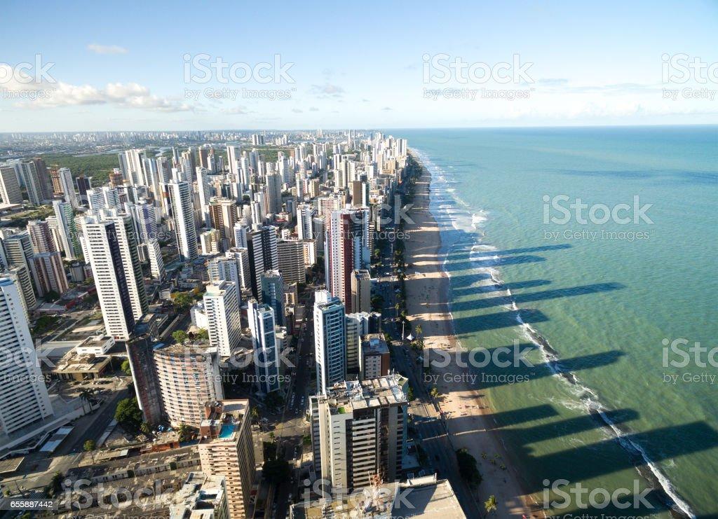 Aerial View of Boa Viagem Beach, Recife, Brazil stock photo