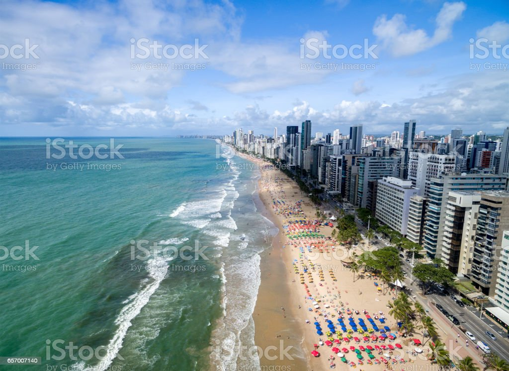 Aerial View of Boa Viagem Beach, Recife, Brazil stock photo