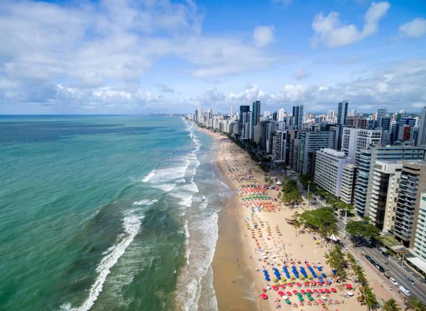 Vista aérea de la playa de Boa Viagem, Recife, Brasil - foto de stock