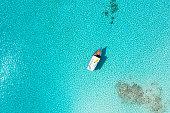 Aerial View of Boat in Ocean