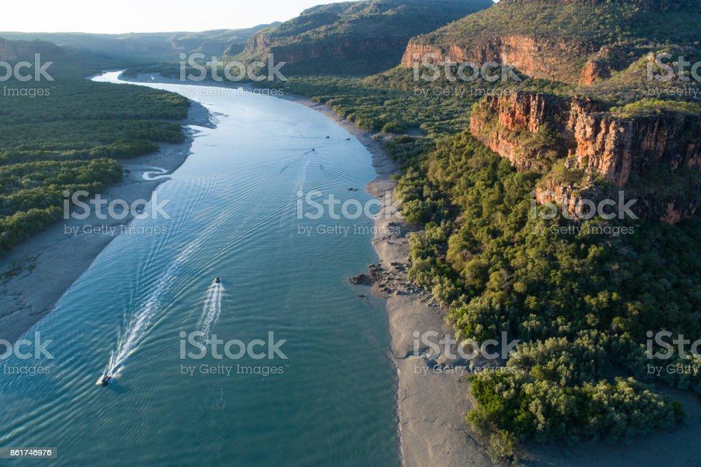 aerial view of boating, Porosus Creek, Hunter River, Prince Frederick Harbour stock photo