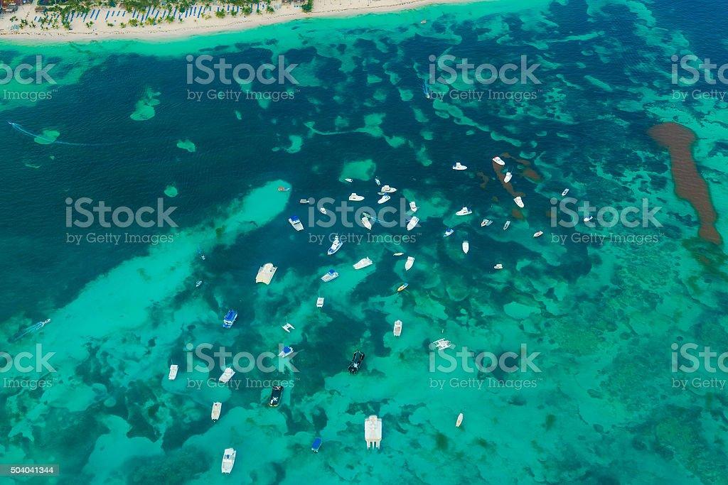 Aerial view of boats in Atlantic ocean stock photo