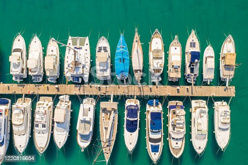 View from above of lots of boats side by side in a marina in the Adriatic Sea,  Cres Island,  Croatia