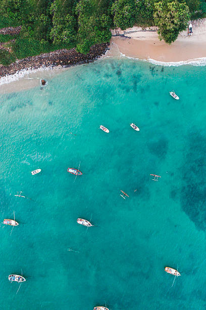 Aerial view of boats in the  bay stock photo