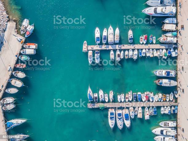 Photo of Aerial view of boats in the marina