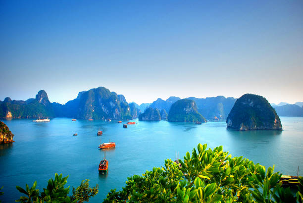Aerial view of boats sailing in Halong Bay Vietnam stock photo