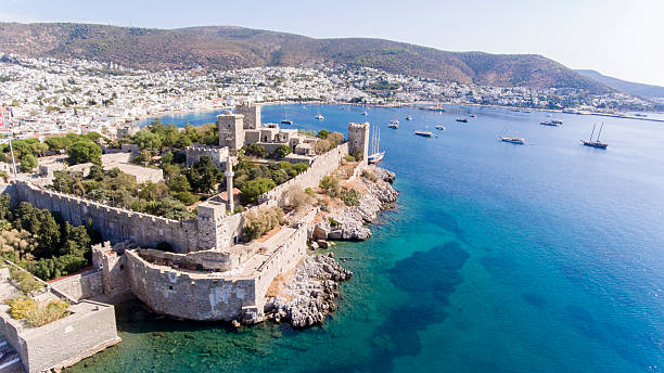 aerial view of bodrum on turkish riviera. - 터키 뉴스 사진 이미지