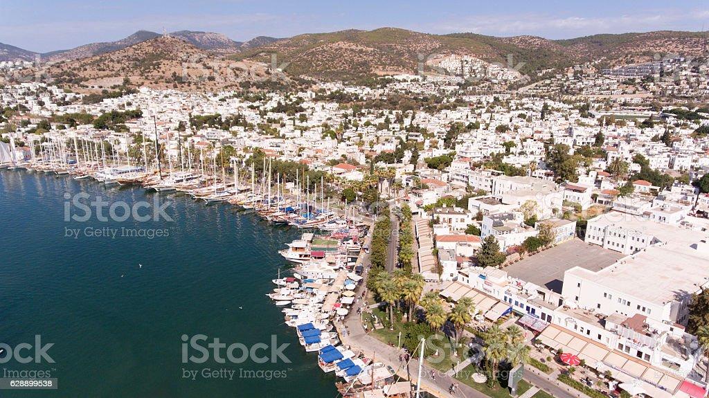 Aerial view of Bodrum on Turkish Riviera. stock photo