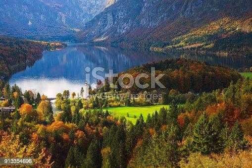 istock Aerial view of Bohinj lake in Julian Alps, Slovenia 913354696