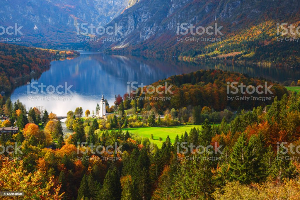 Aerial view of Bohinj lake in Julian Alps, Slovenia stock photo
