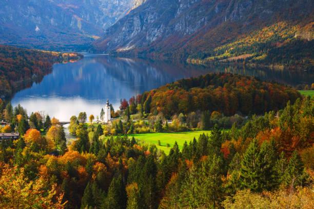 aerial view of bohinj lake in julian alps, slovenia - słowenia zdjęcia i obrazy z banku zdjęć