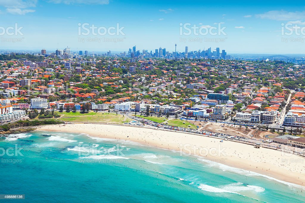 Aerial view of Bondi beach at Sydney stock photo