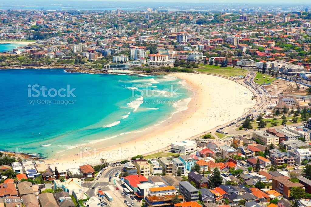Aerial view of Bondi beach in Sydney stock photo