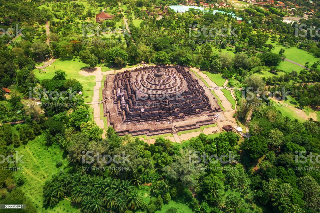 Aerial View of Borobudur Temple in Central Java, Indonesia stock photo