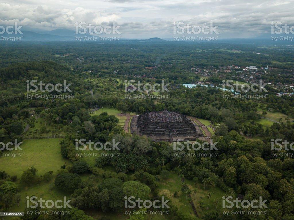 Aerial view of Borobudur temple in Java, Indonesia stock photo