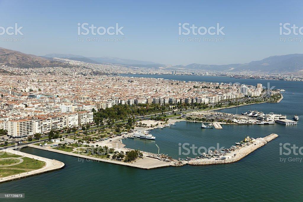 Aerial view of Bostanli Pier in Izmir stock photo