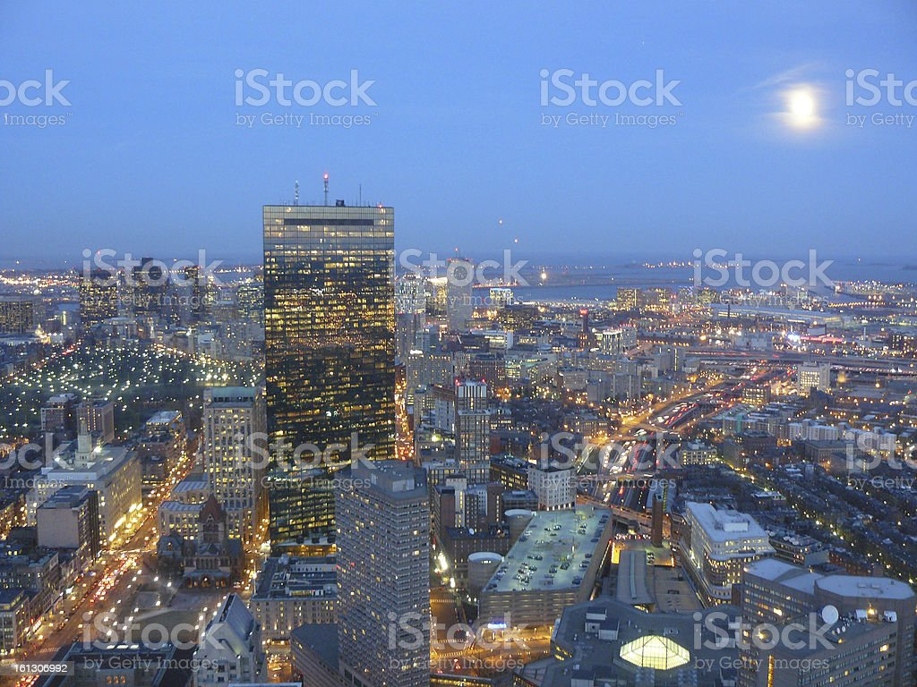 Aerial view of Boston at Night stock photo
