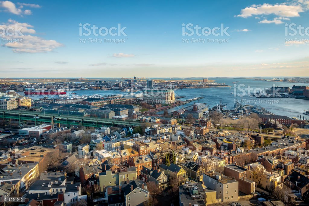 Aerial view of Boston - Boston, Massachusetts, USA stock photo