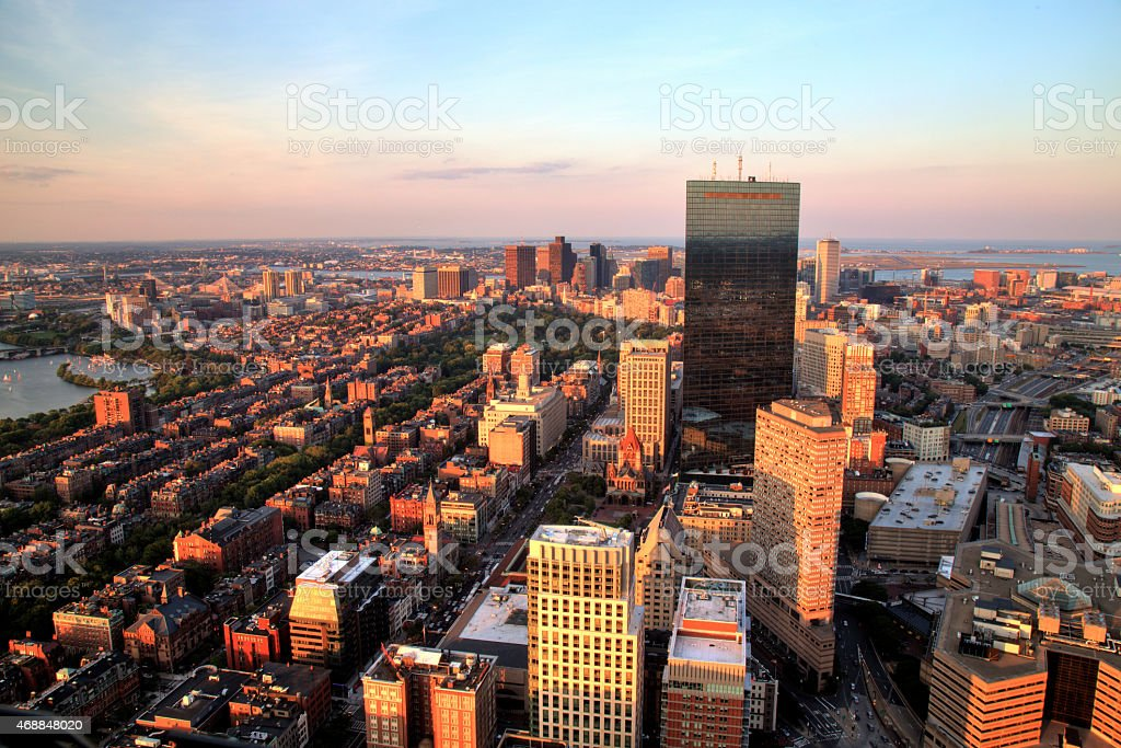 Aerial view of Boston city at sunset stock photo
