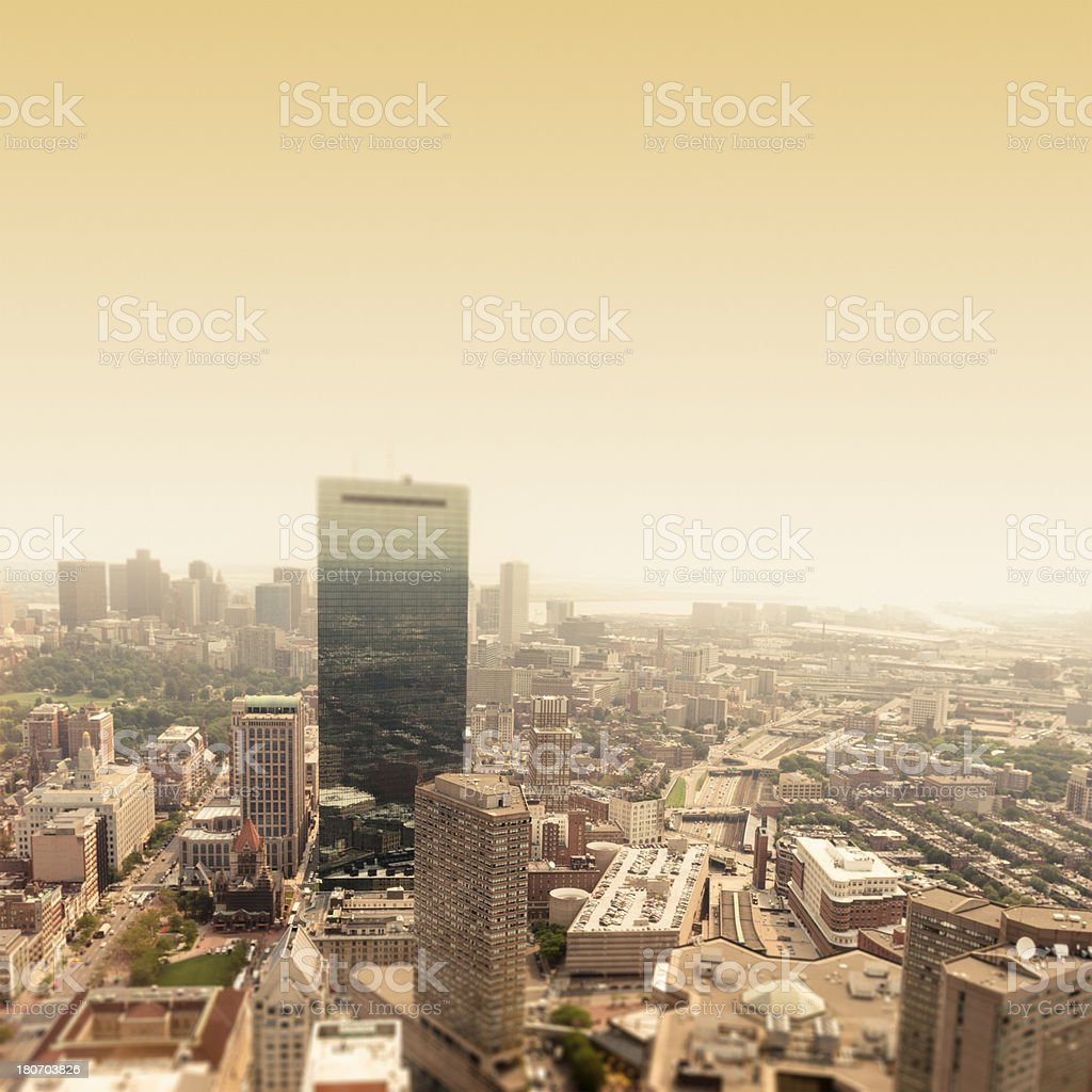 Aerial view of Boston in a fog day royalty-free stock photo