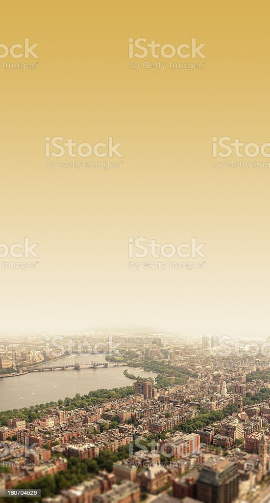 Aerial view of Boston in a fog day stock photo