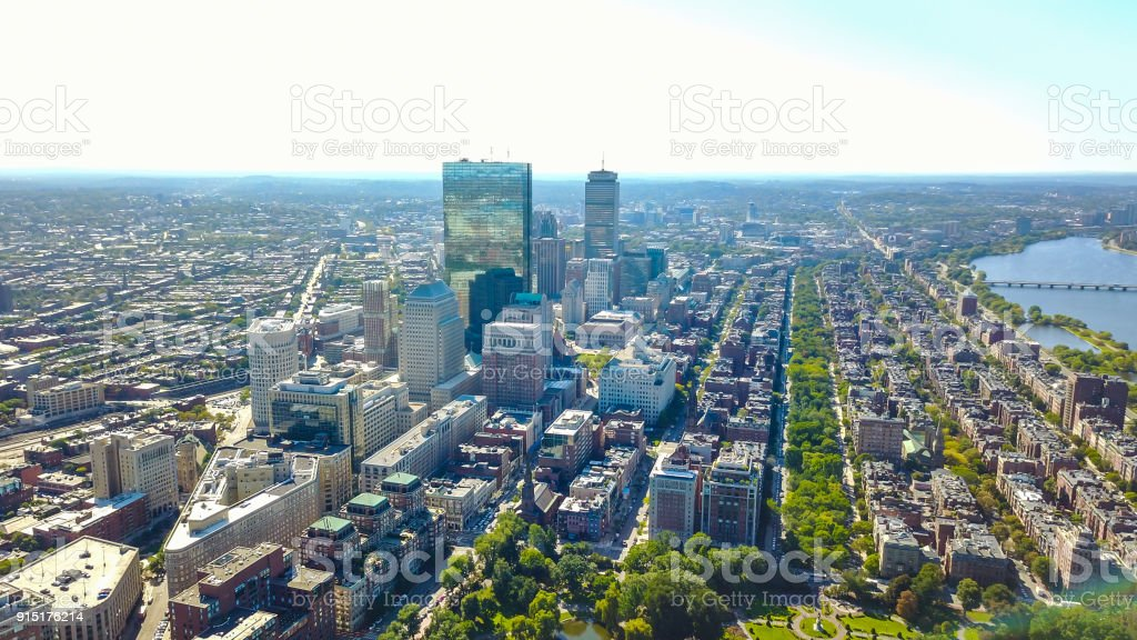 Aerial view of Boston in Massachusetts in the summer season. USA stock photo