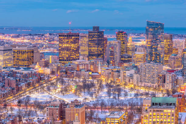 Aerial view of Boston skyline and Boston Common park in Massachusetts, USA at sunset in winter stock photo