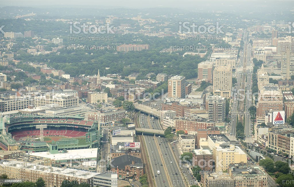 Aerial view of Boston with Fenway Park and highway stock photo