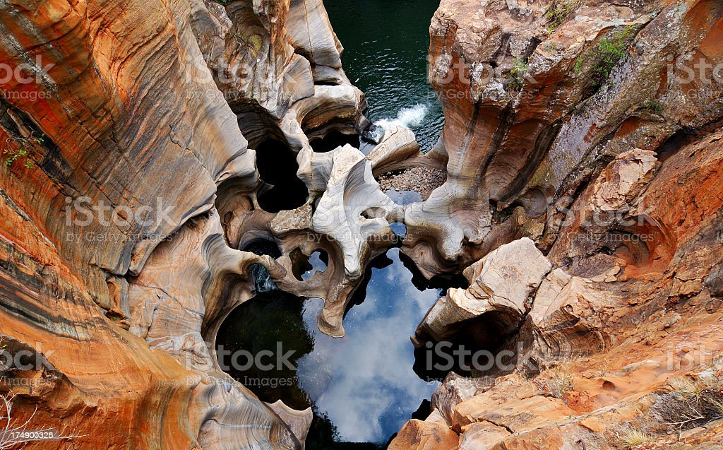 Aerial view of Bourke's Luck potholes at Blyde River Canyon stock photo