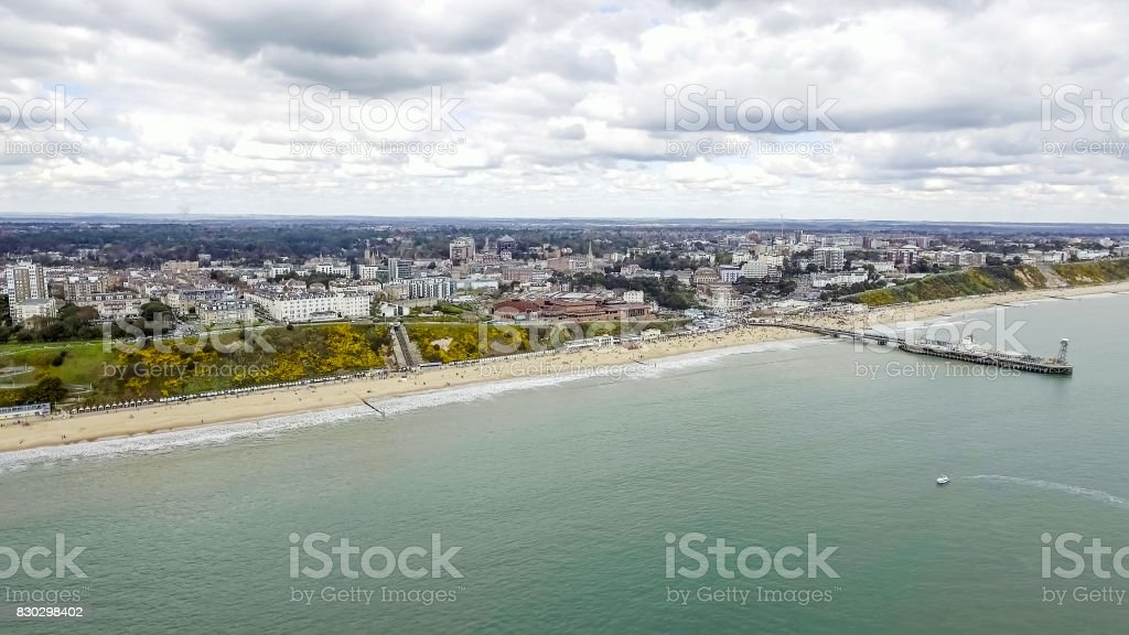 Aerial View Of Bournemouth City and Beach in England stock photo