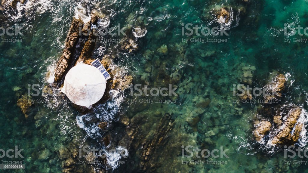 Aerial view of bouy floating in open sea at Gulf of Thailand stock photo