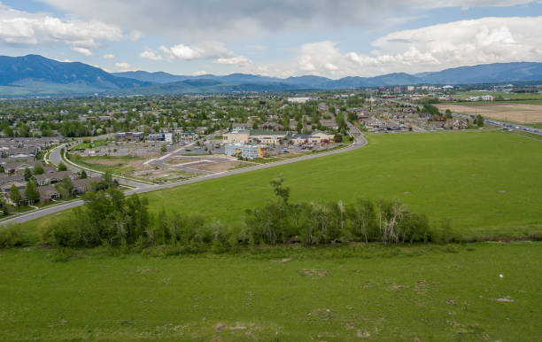 Aerial View of Bozeman Montana residential Community stock photo