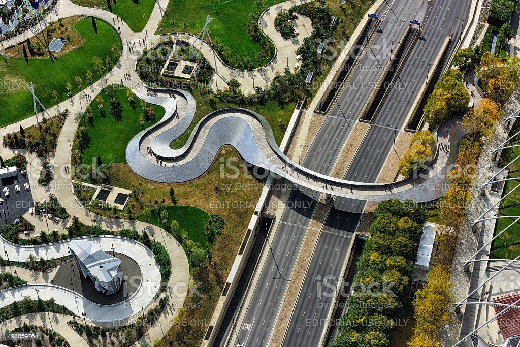 Aerial view of  BP Pedestrian Bridge, Chicago stock photo