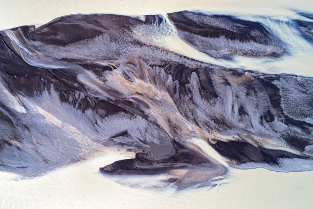 Aerial View of Braided Glacial River Flows in Iceland stock photo