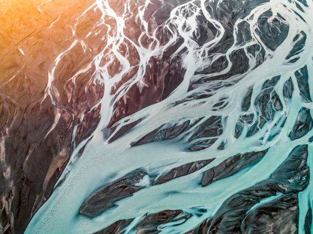 Aerial view of braided river. Aerial view of braided river. Scenic view of Markarfljot in Iceland. Image is representing beautiful nature. Glacier river from Eyjafjallajokull. eroded stock pictures, royalty-free photos & images