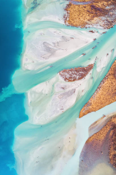 Aerial View Of Braided River. stock photo