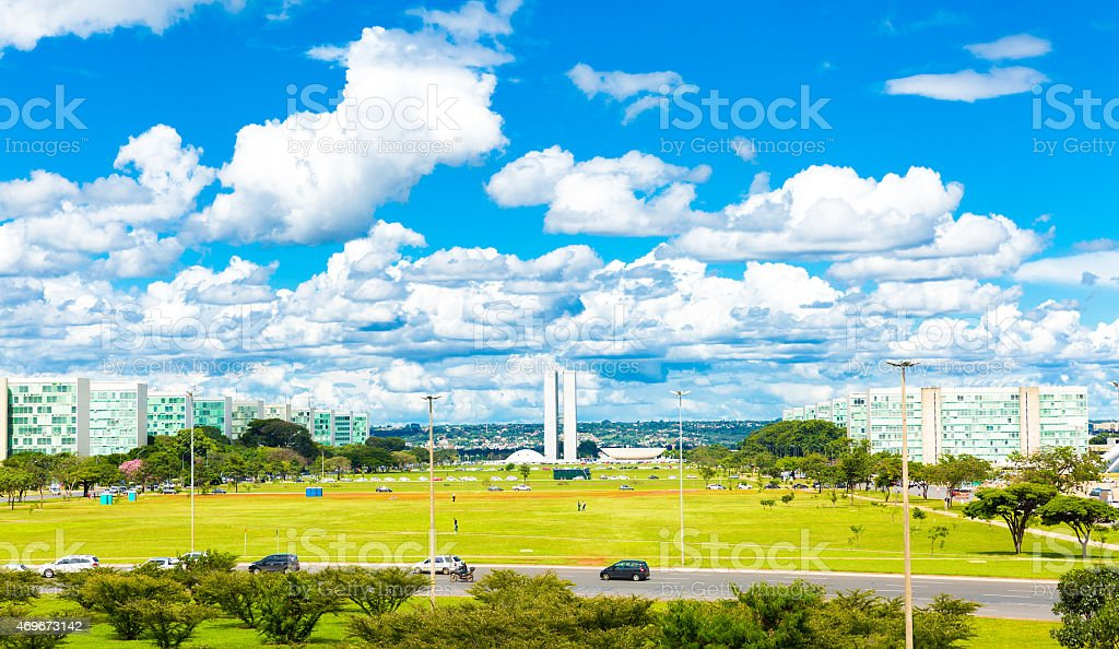 Aerial view of Brasilia, Brazil stock photo