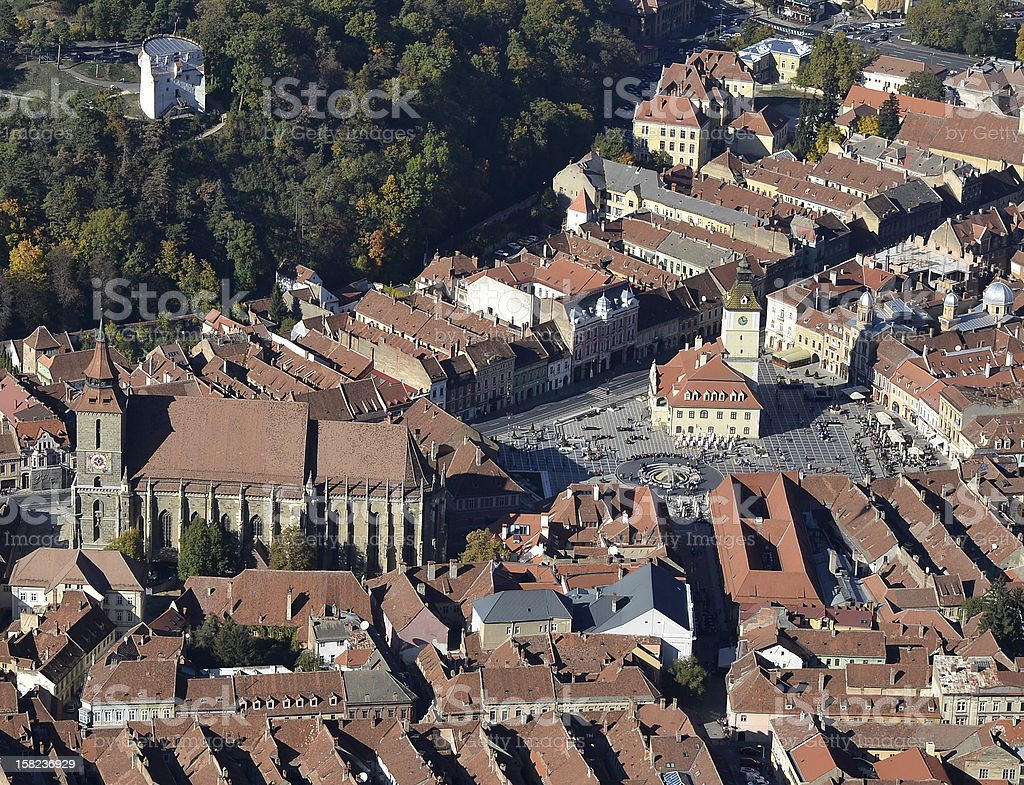 Aerial view of Brasov city royalty-free stock photo