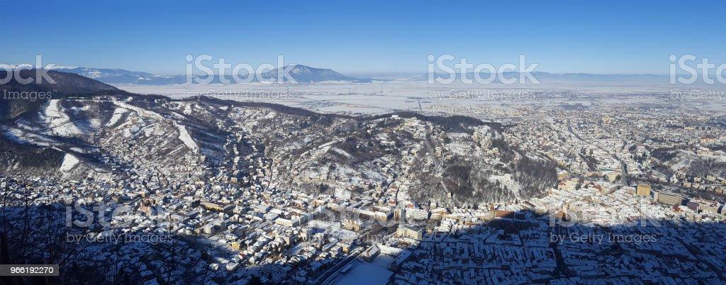 aerial view of Brasov city stock photo